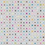 240 Einkaufseingestellte ikonen, umfasst Geldikonen Lizenzfreie Stockfotos