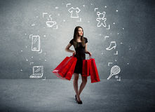 Einkaufsfrau mit Taschen und gezogenen Ikonen Lizenzfreie Stockbilder