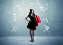 Einkaufsfrau mit Taschen und gezogenen Ikonen Stockbilder