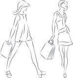 Einkaufsfrauen Lizenzfreie Abbildung