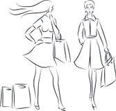 Einkaufsfrauen Stock Abbildung