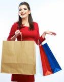 Einkaufsfrauen-Grifftaschen, Porträt lokalisiert Stockbild