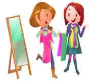 Einkaufsfrauen im Bekleidungsgeschäft stock abbildung