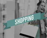 Einkaufshandels-Erwerb- am freien Marktspeicher-Konzept lizenzfreie stockfotos