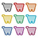 Einkaufsikone, Warenkorbikone, Farbikonen eingestellt Lizenzfreie Stockfotografie
