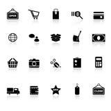 Einkaufsikonen mit denken über weißen Hintergrund nach Lizenzfreies Stockfoto