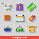 Einkaufsikonenfarbe Lizenzfreie Stockfotos