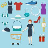 Einkaufskonzept mit flachen Ikonen Lizenzfreies Stockfoto
