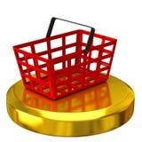 Einkaufskorb auf Goldpodium Lizenzfreie Stockfotos