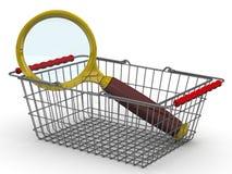 Einkaufskorb mit einer Lupe Suchprodukte Stockfotos
