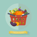 Einkaufskorb mit Gemüse in der flachen Art Auch im corel abgehobenen Betrag Stockbilder