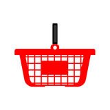 Einkaufskorb oder Warenkorb - rote Farbe lizenzfreie abbildung