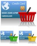 Einkaufskorb u. Kreditkarte Stockfotografie