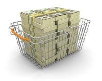 Einkaufskorb und Stapel von Dollar (Beschneidungspfad eingeschlossen) Stockfoto