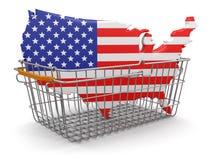 Einkaufskorb und USA-Karte (Beschneidungspfad eingeschlossen) Lizenzfreie Abbildung