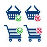 Einkaufskorb- und Warenkorbikonen Lizenzfreies Stockfoto
