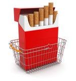 Einkaufskorb und Zigaretten-Satz (Beschneidungspfad eingeschlossen) Stock Abbildung