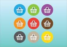 Einkaufskorbikonen stock abbildung