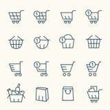 Einkaufskorbikonen lizenzfreie abbildung