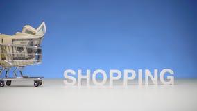 Einkaufslaufkatze voll durch Geld für Lohnkäufe an einem teuren Speicher stock footage