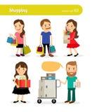 Einkaufsleute mit Korb und Warenkorb Lizenzfreies Stockfoto
