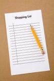 Einkaufsliste Stockfoto