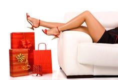 Einkaufsmädchen stockfoto