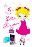 Einkaufsmädchen-Mode-Kindert-shirt grafisches Vektor-Design Stock Abbildung