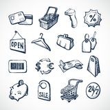 Einkaufsskizzen-Ikonen Stockbild
