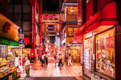 Einkaufsstraße China-Stadt Yokohama nachts lizenzfreie stockfotografie