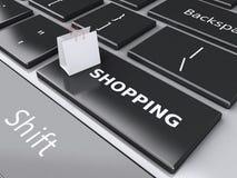 Einkaufstasche 3d auf Computertastatur auf weißem background Stockbilder