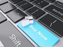 Einkaufstasche 3d auf Computertastatur auf weißem background Lizenzfreie Stockbilder