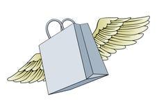 Einkaufstasche, die mit Flügelkonzept fliegt Stockbild