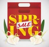 Einkaufstasche für Frühlings-Verkäufe Jahreszeit, Vektor-Illustration Lizenzfreie Stockfotos