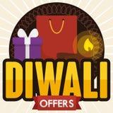 Einkaufstasche, Geschenkbox und Diya für Diwali-Angebote, Vektor-Illustration Lizenzfreie Stockfotos