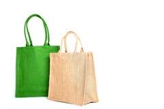 Einkaufstasche hergestellt aus aufbereitetem Sack des groben Sackzeugs heraus Stockfotografie