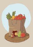 Einkaufstasche mit Obst und Gemüse Stockfotos