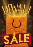 Einkaufstasche mit Paisley und Band für Diwali-Verkauf, Vektor-Illustration Lizenzfreies Stockfoto