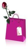 Einkaufstasche mit Rose Lizenzfreie Stockfotografie