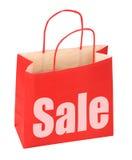 Einkaufstasche mit rotem Verkaufszeichen Lizenzfreies Stockfoto
