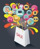 Einkaufstasche mit Verkaufs-Text und verschiedenen Ikonen Stockfotos