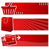 Einkaufstasche-u. Warenkorb-horizontale Fahnen Lizenzfreie Stockbilder