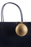 Einkaufstasche- und Weihnachtsblase Stockfoto