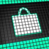 Einkaufstascheikone auf Pixelbildschirm Stockfotografie