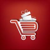 Einkaufstascheikone mit Weihnachtsgeschäft Stockfotografie