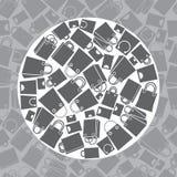 Einkaufstascheikonensatz, nahtloses Muster Lizenzfreies Stockbild