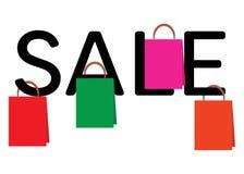 Einkaufstaschen, die am Wort VERKAUF hängen lizenzfreie abbildung