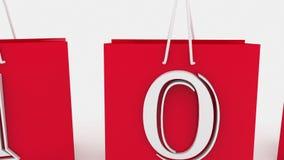 Einkaufstaschen mit Aufschriftverkauf und 10 Prozent stock video footage
