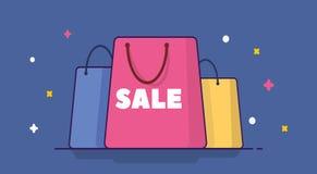 Einkaufstaschen mit Verkaufstext Flache Vektorillustration Getrennt Stockfotos