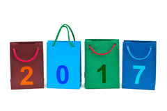 Einkaufstaschen und Nr. 2017 Stockfoto